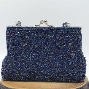 Bijoux Terner Blue Beaded Evening Bag